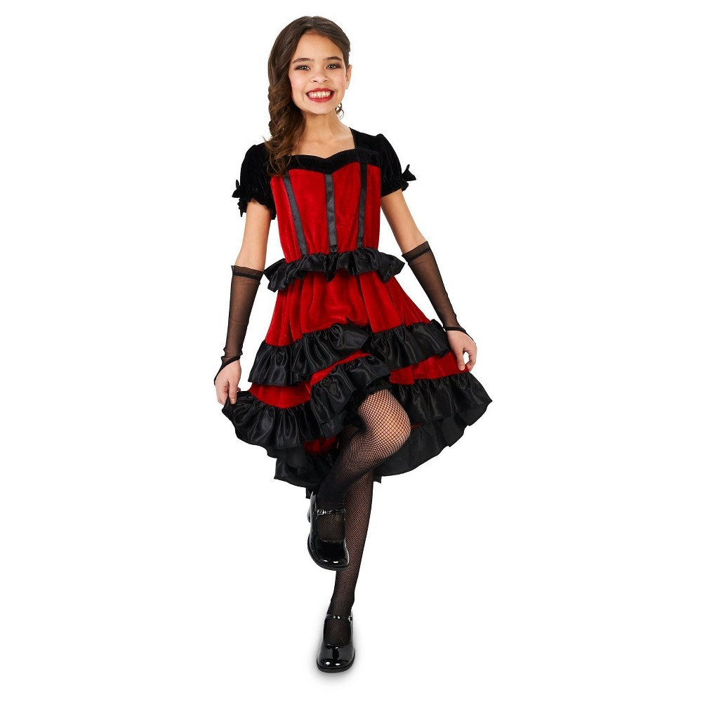 Girls Can Can Dancer Costume M (8-10), Multicolored