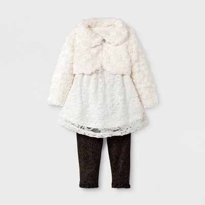 Baby Grand Signature Baby Girls' Velboa Faux Fur Overlay Top and Leggings Dress Set - Ivory 6-9M