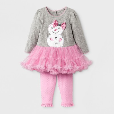 Baby Grand Signature Baby Girls' Snowman Dress and Glitter Leggings Set - Pink 3-6M