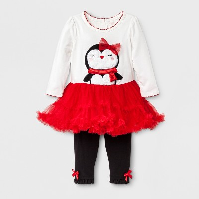 Baby Grand Signature Baby Girls' Penguin Dress and Leggings Set - Red 6-9M