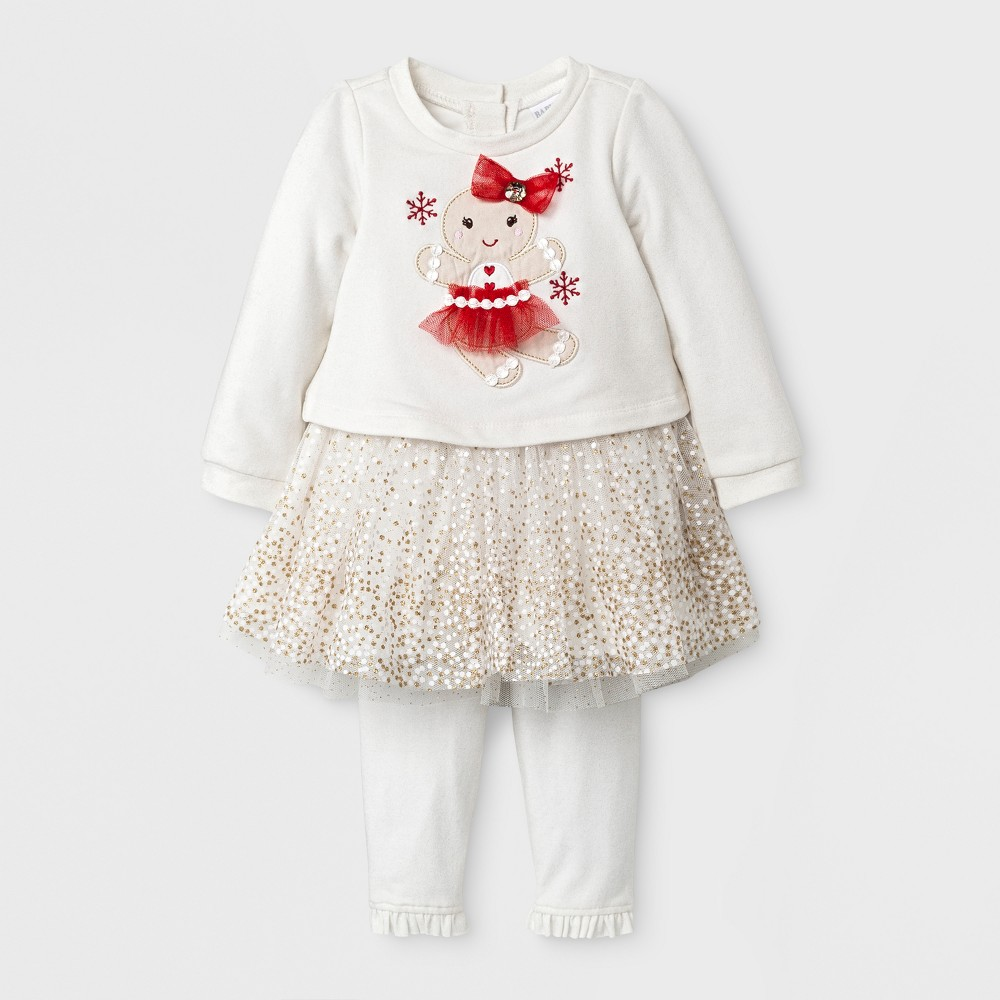 Baby Grand Signature Baby Girls Gingerbread Man Dress and Glitter Leggings Set - Ivory 18M, Size: 18 M, Beige