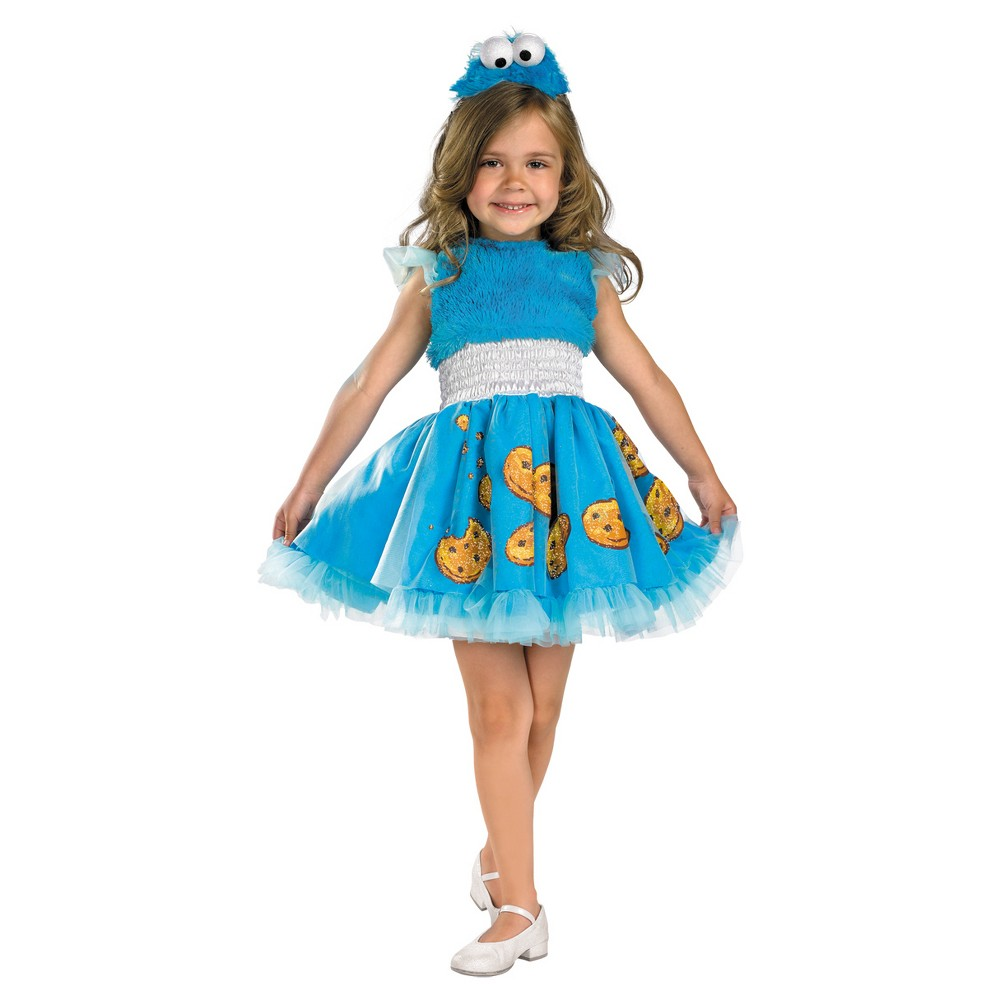 Girls Cookie Monster Frilly Costume 3t-4t, Multicolored