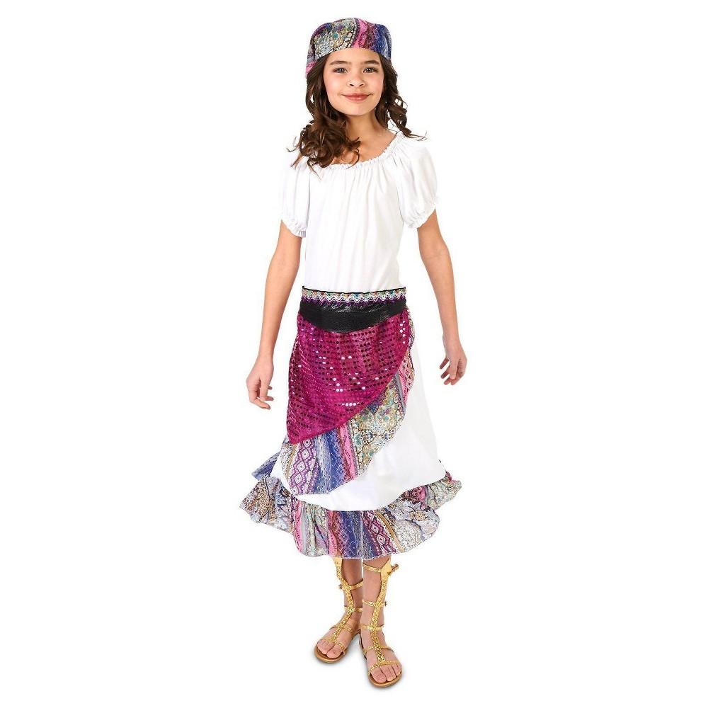 Girls Boho Gypsy Costume M (8-10), Multicolored