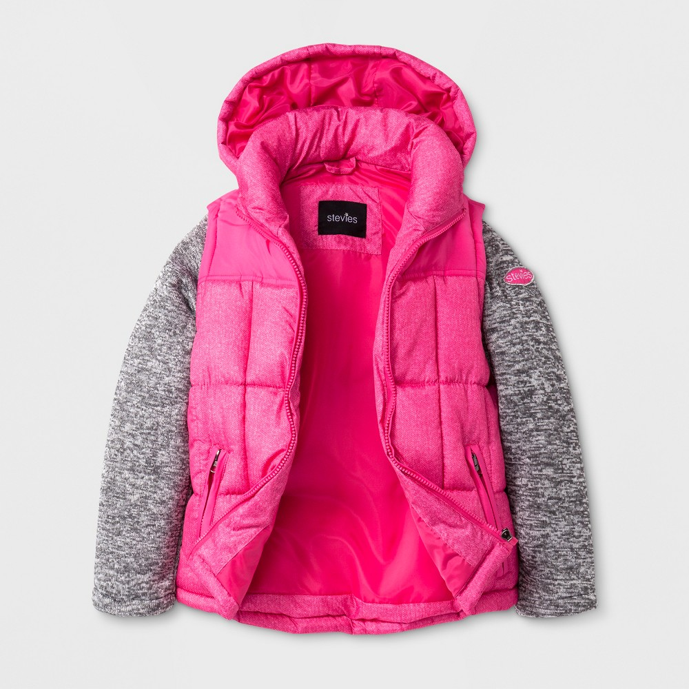 Stevies Girls Puffer Jacket - Pink M