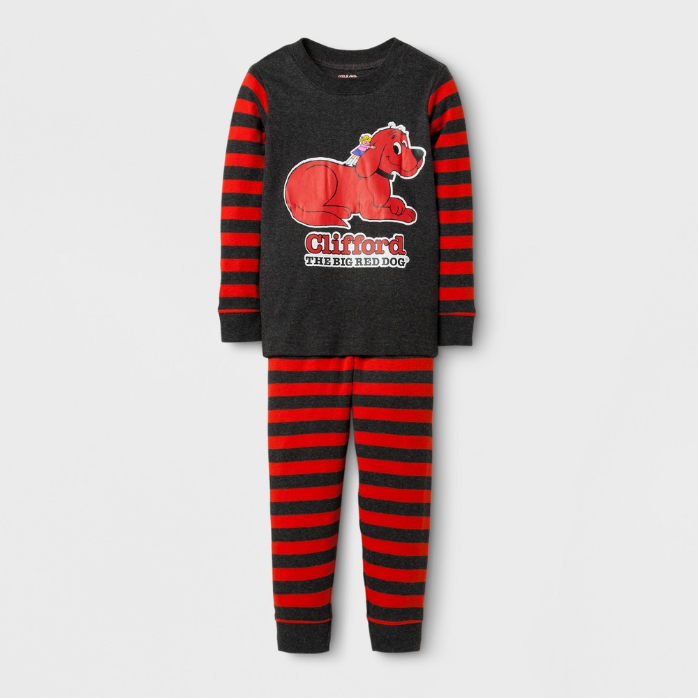 Eric Carle Toddlers Clifford Long Sleeve Pajama Set - Gray 4T, Toddler Boys, Multicolored
