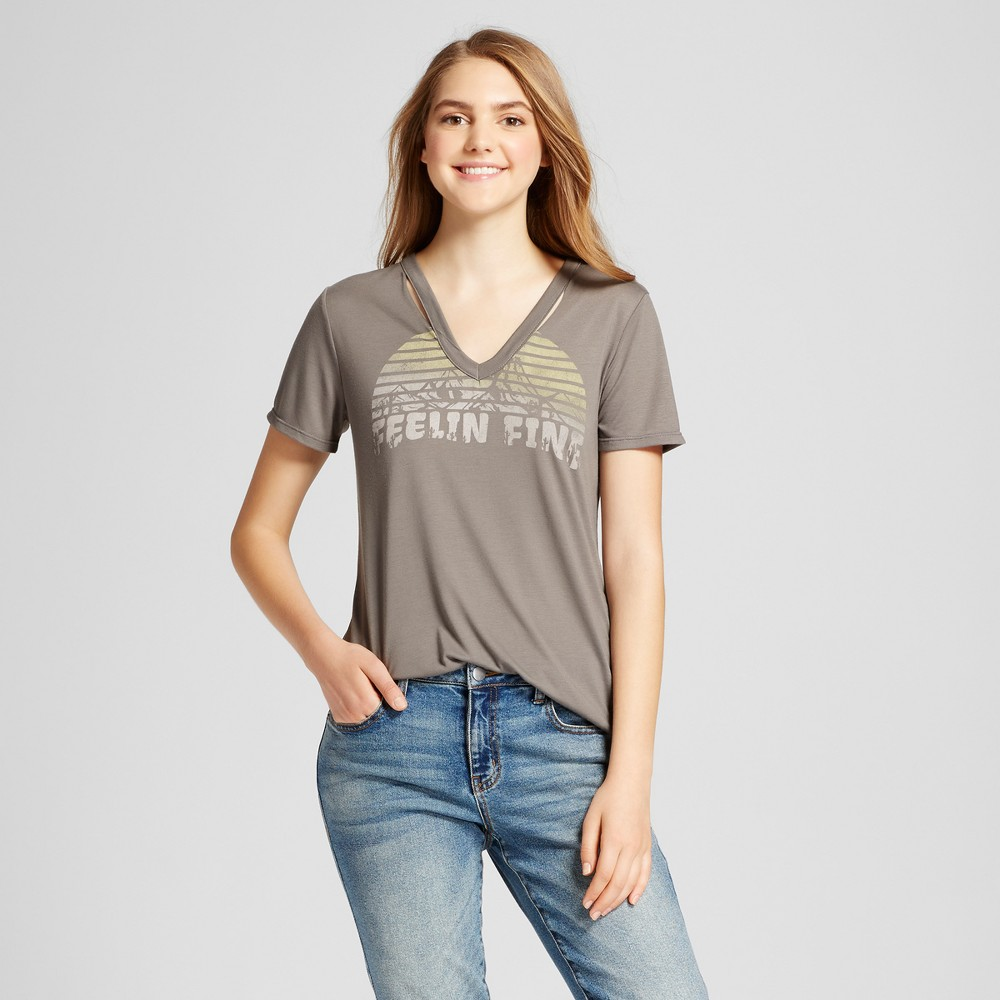Womens Feelin Fine Destructed Graphic T-Shirt - Fifth Sun (Juniors) Charcoal XL, Gray