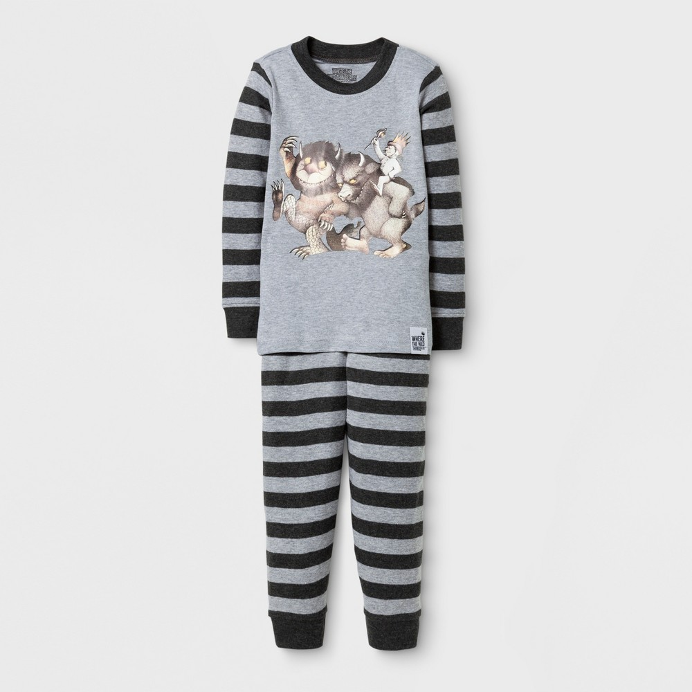 Eric Carle Toddlers Where the Wild Things Are Long Sleeve Pajama Set - Gray 3T, Toddler Boys, Multicolored