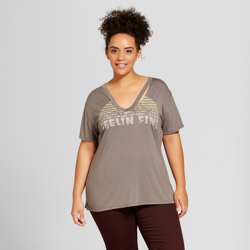 Womens Plus Size Feelin Fine Destructed Graphic T-Shirt - Fifth Sun Charcoal 3X, Gray