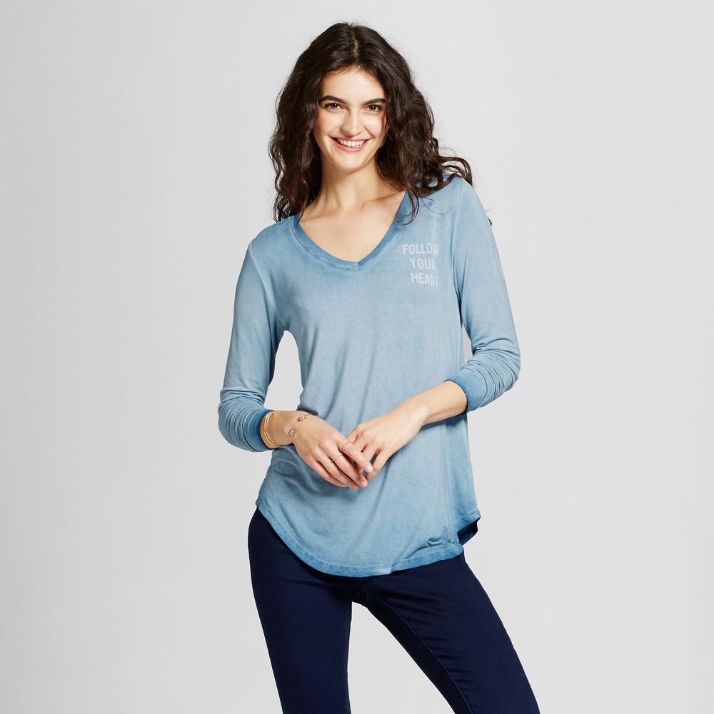 Womens Follow Your Heart Long Sleeve Graphic T-Shirt - Zoe+Liv (Juniors) Blue XS