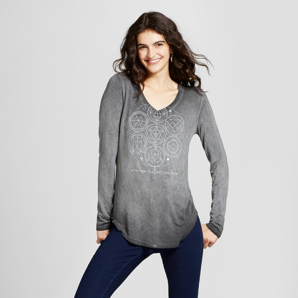 Womens Celestial Geo Long Sleeve Graphic T-Shirt - Zoe+Liv (Juniors) Black XL