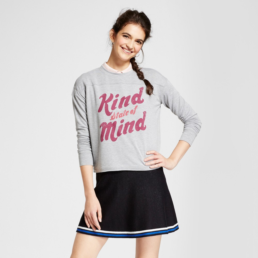 Womens Kind State of Mind Graphic Pullover Sweatshirt - Fifth Sun (Juniors) Light Gray XL