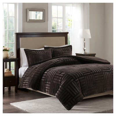 Chocolate Polar Brushed Faux Fur Comforter Mini Set (King/California King)