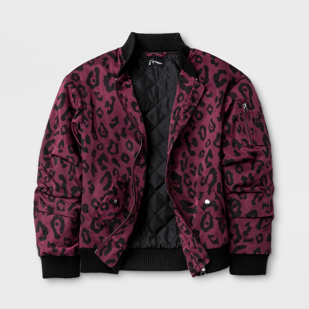 Girls Leopard Bomber Jacket - Art Class Autumn Purple XL