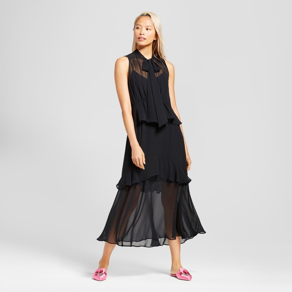 Womens Tiered Ruffle Midi Dress- Who What Wear Black XS