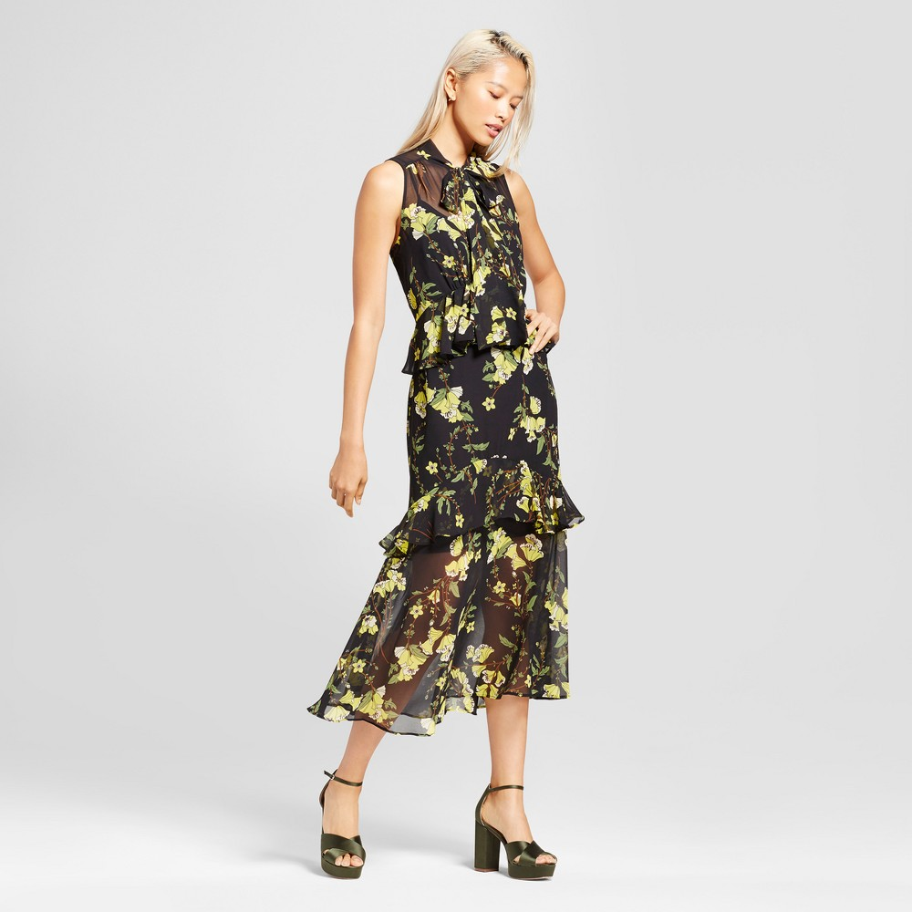 Womens Tiered Ruffle Midi Dress- Who What Wear Black/Yellow Floral XS
