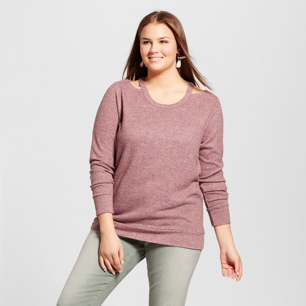 Womens Plus Size Pullover Sweater - Almost Famous (Juniors) - Pink 2X