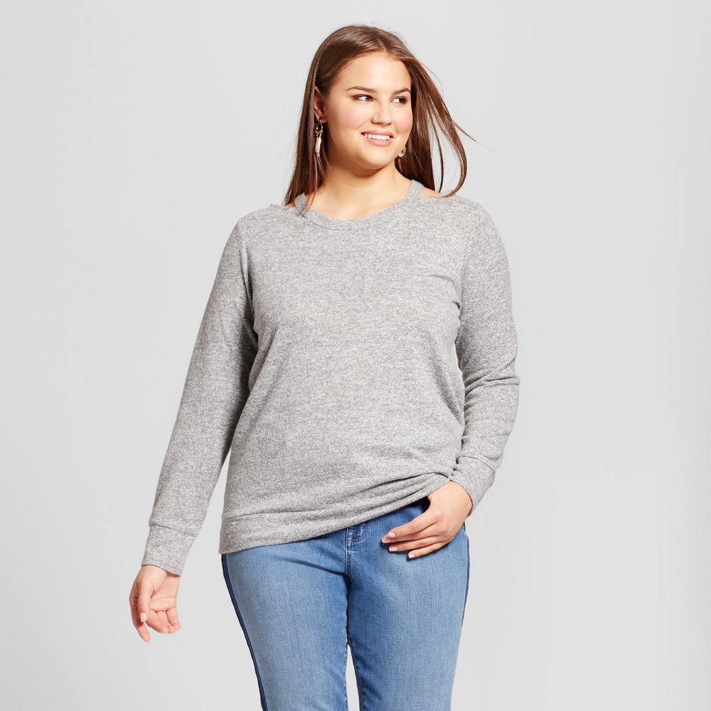 Womens Plus Size Pullover Sweater - Almost Famous (Juniors) - Gray 3X