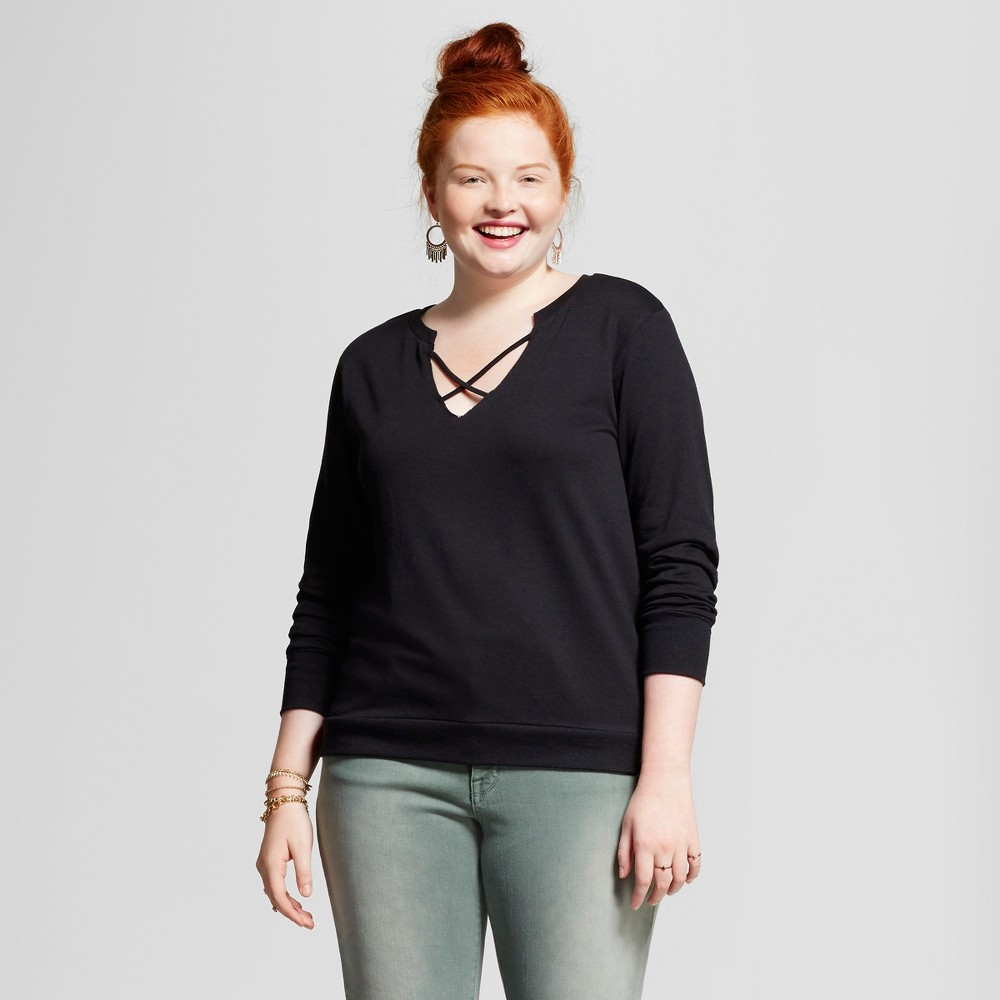 Womens Plus Size French Terry V-Neck Pullover Sweater - Almost Famous (Juniors) - Black 1X