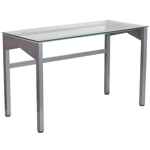 Contemporary Desk with Tempered Glass Top - Clear Glass Top/Silver Frame - Riverstone Furniture Collection - image 1 of 2