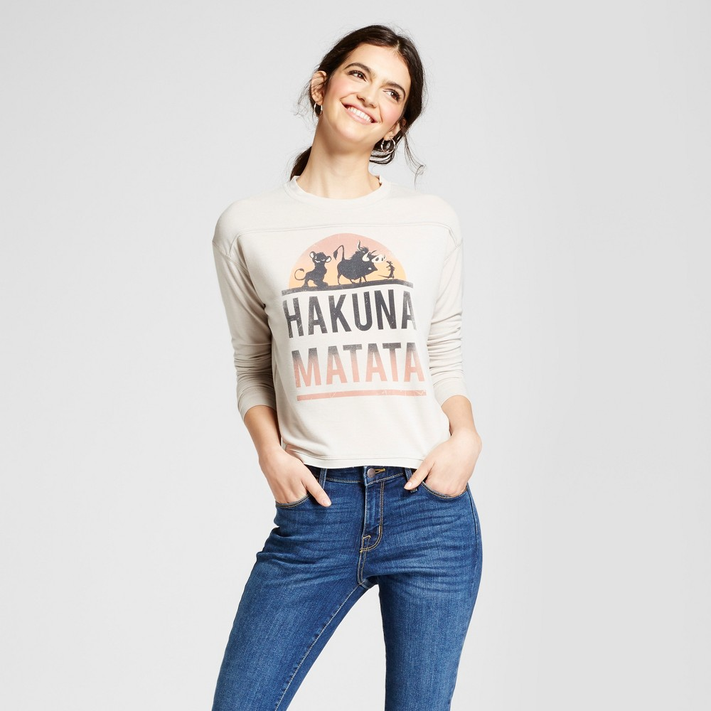 Womens The Lion King Hakuna Matata Graphic Pullover Sweatshirt (Juniors) - Cream S, Beige