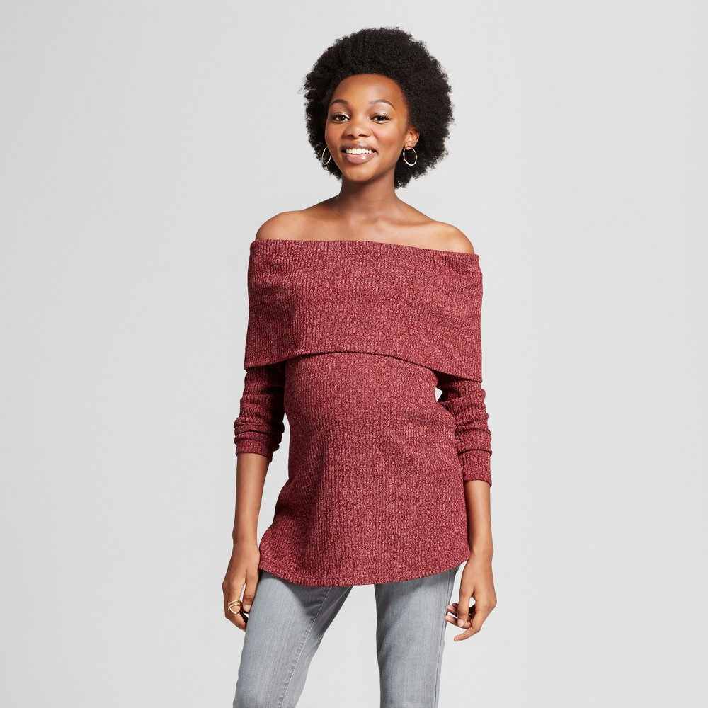 Maternity Long Sleeve Off the Shoulder Sweater MaCherie Burgundy XL, Wineberry