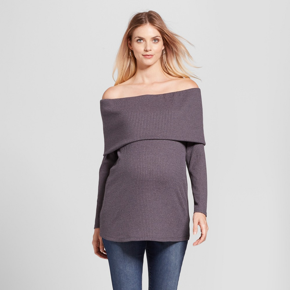 Maternity Long Sleeve Off the Shoulder Sweater MaCherie Gray L, Charcoal Heather