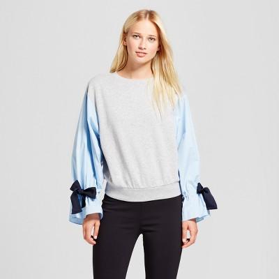 Women's Long Sleeve Knit To Woven Sweatshirt - Who What Wear™ Gray