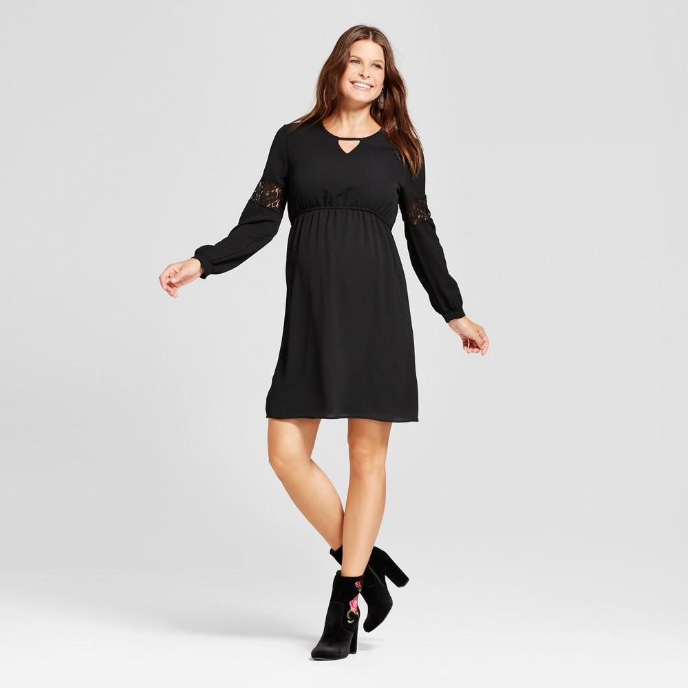 Maternity Long Sleeve Keyhole Neck Dress - MaCherie Black S, Womens