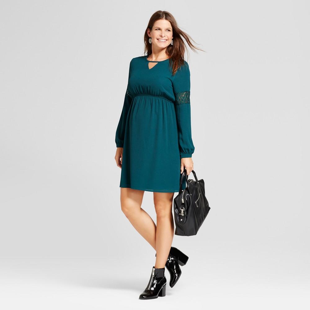 Maternity Long Sleeve Keyhole Neck Dress - MaCherie Deep Green L, Womens