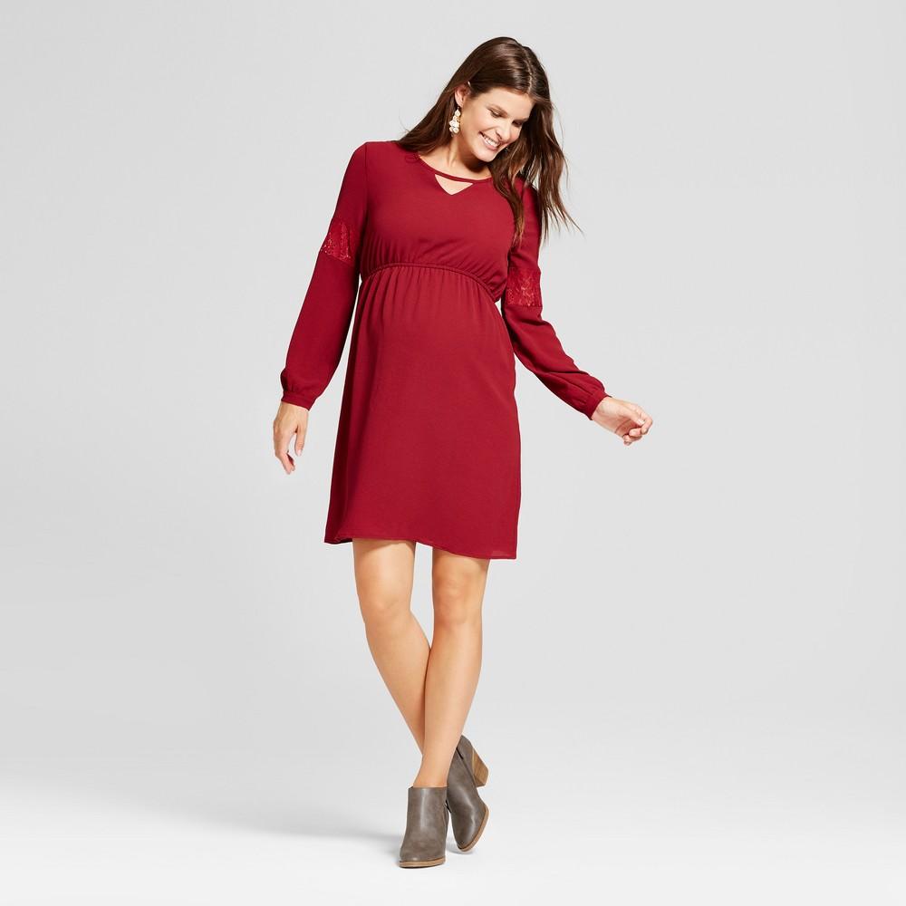 Maternity Long Sleeve Keyhole Neck Dress - MaCherie Burgundy (Red) M, Womens