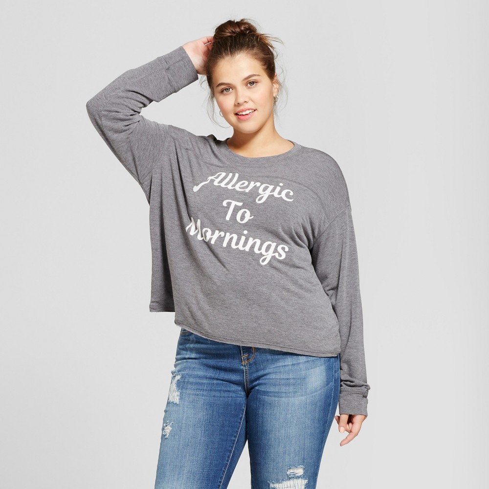 Womens Plus Size Allergic to Mornings Graphic Pullover Sweatshirt - Fifth Sun Gray 3X