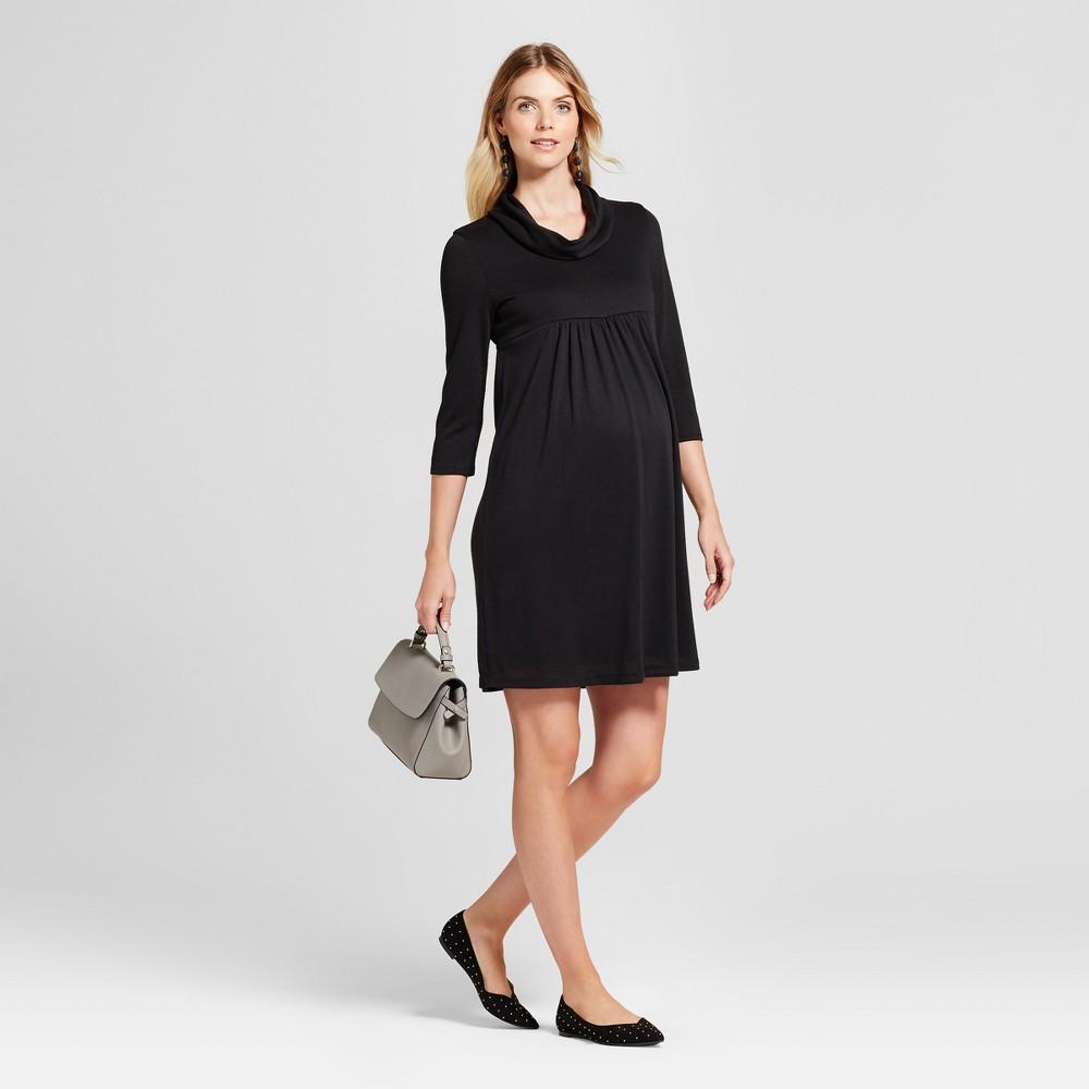 Maternity 3/4 Sleeve Cowlneck Dress MaCherie Black XL, Womens