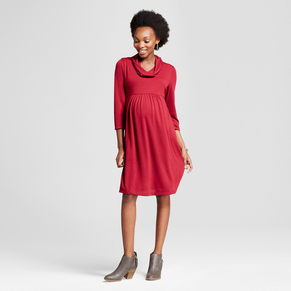 Maternity 3/4 Sleeve Cowlneck Dress MaCherie Burgundy L, Womens, Wineberry