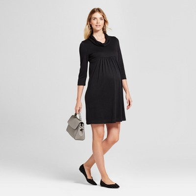 Maternity 3/4 Sleeve Cowlneck Dress MaCherie Black L