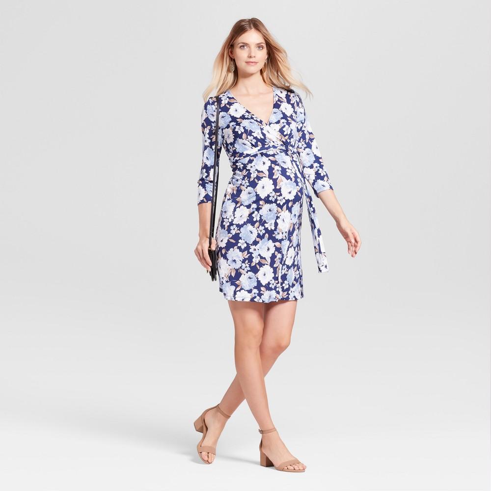 Maternity 3/4 Sleeve V-Neck Polka Dot Dress MaCherie Navy/Blue/Taupe L, Womens