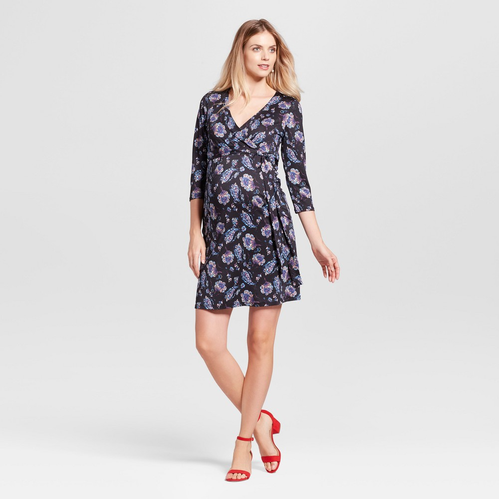 Maternity 3/4 Sleeve V-Neck Polka Dot Dress MaCherie Black/Mauve/Teal XL, Womens