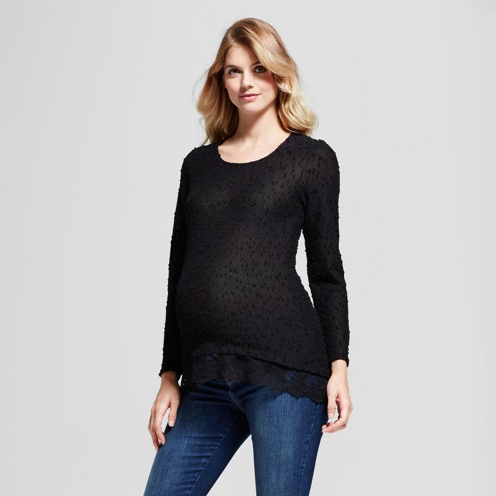 Maternity Long Sleeve Sweater Knit Lace Hem Top MaCherie Black L
