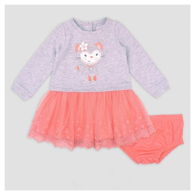 Baby Grand Signature Baby Girls' Cat French Terry Dress - Gray 12M