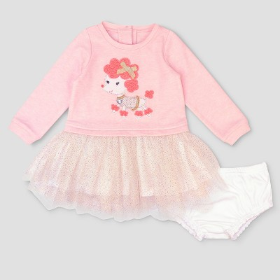 Baby Grand Signature Baby Girls' Poodle French Terry Dress - Pink 3-6M