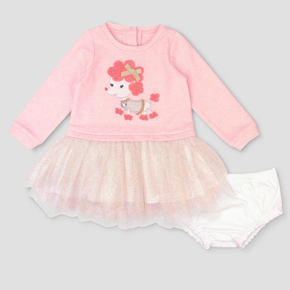 Baby Grand Signature Baby Girls Poodle French Terry Dress - Pink 6-9M, Size: 9 M