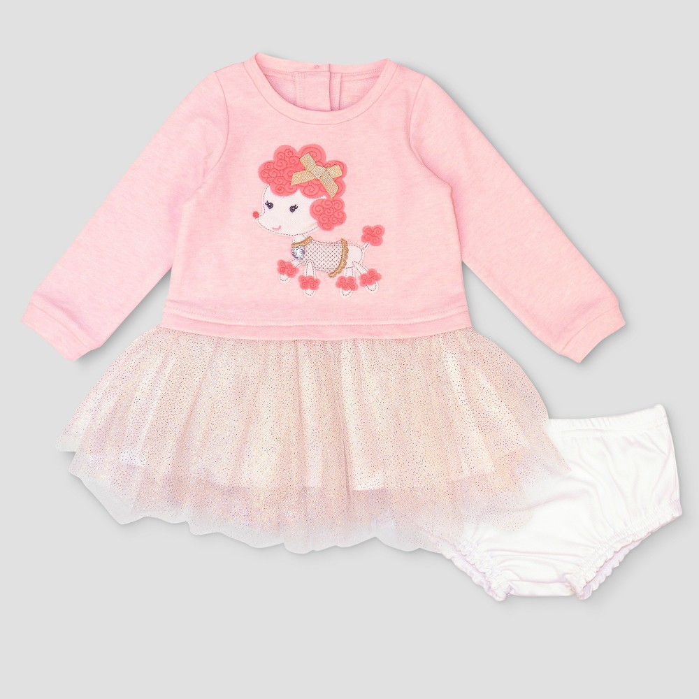 Baby Grand Signature Baby Girls Poodle French Terry Dress - Pink 12M, Size: 12 M