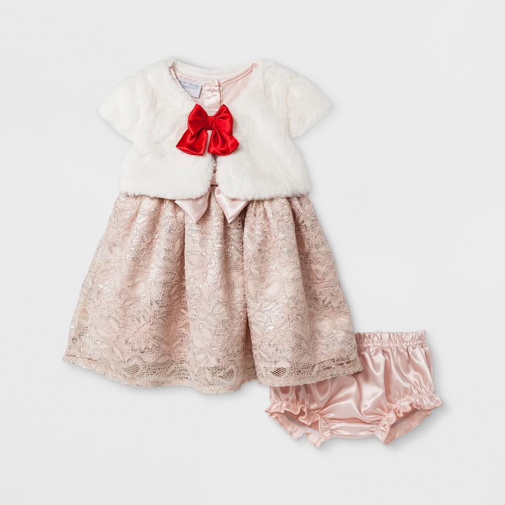 Baby Grand Signature Baby Girls Novelty Fur Jacket Knit Dress Set - Ivory 18M, Size: 18 M, Beige