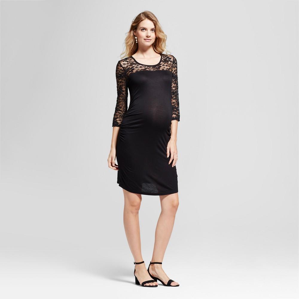 Maternity 3/4 Sleeve Lace Yoke Dress MaCherie Black XL, Womens