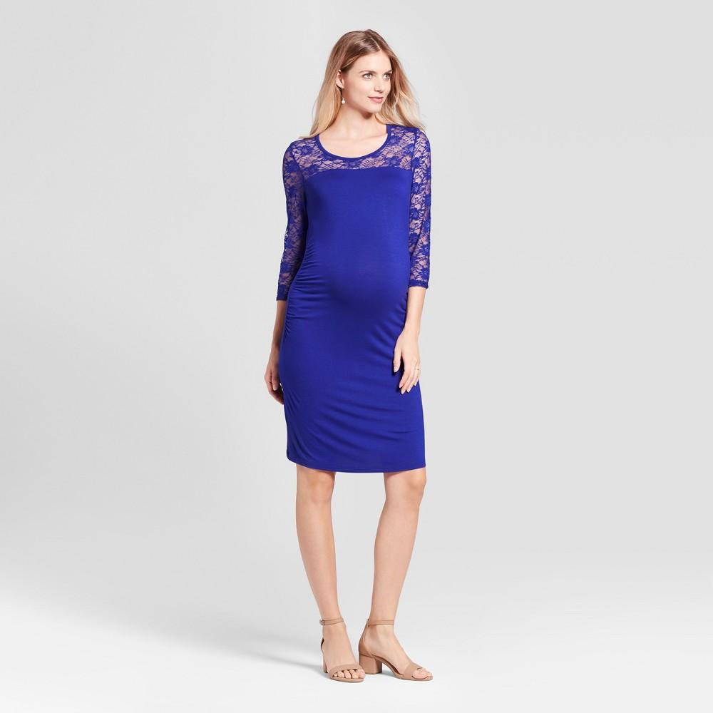 Maternity 3/4 Sleeve Lace Yoke Dress MaCherie Blue S, Womens