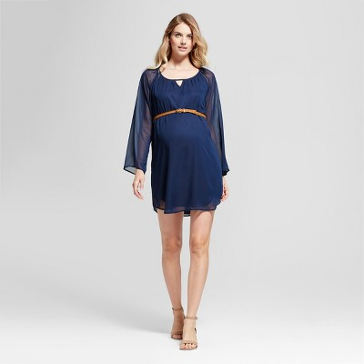 Maternity Long Sleeve Belted Chiffon Dress MaCherie Navy S
