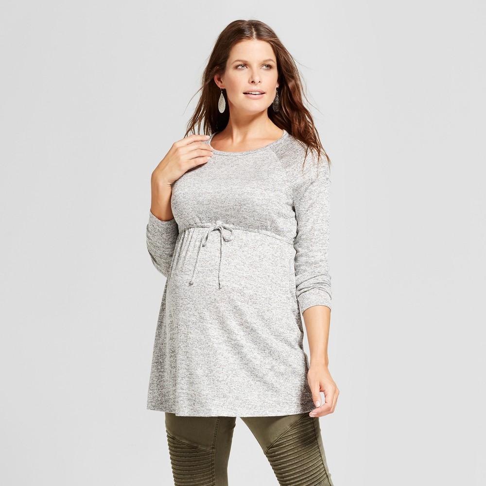 Maternity Long Sleeve Tie Waist Sweater Knit Tunic Top - MaCherie Heather Gray XL