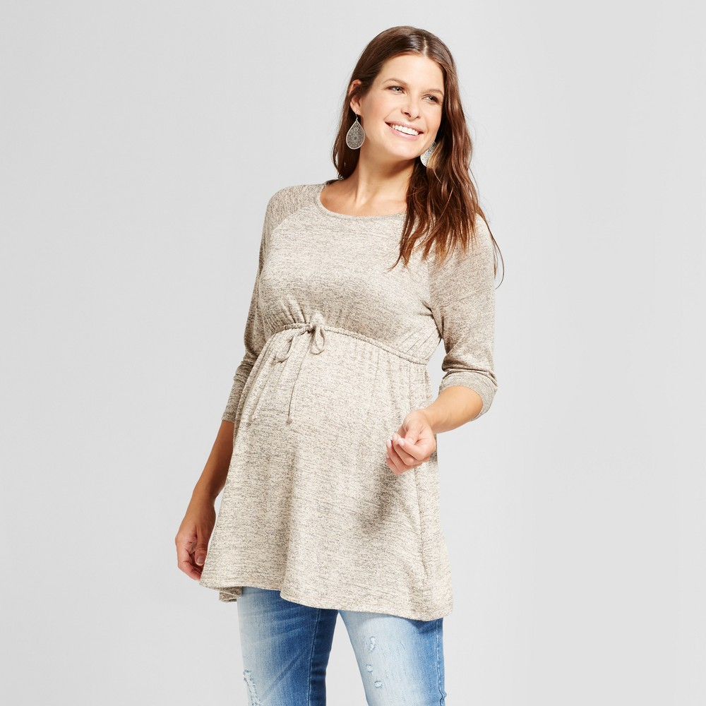 Maternity Long Sleeve Tie Waist Sweater Knit Tunic Top - MaCherie Oatmeal Heather XL