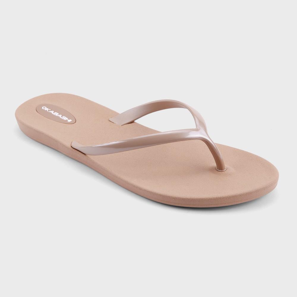 Womens Okabashi Shoreline Flip Flop Sandals - Blush/Light Gold 9