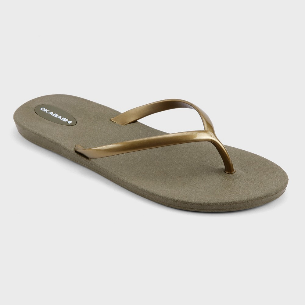 Womens Okabashi Shoreline Flip Flop Sandals - Moss/Bright Gold (Green/Bright Gold) 6