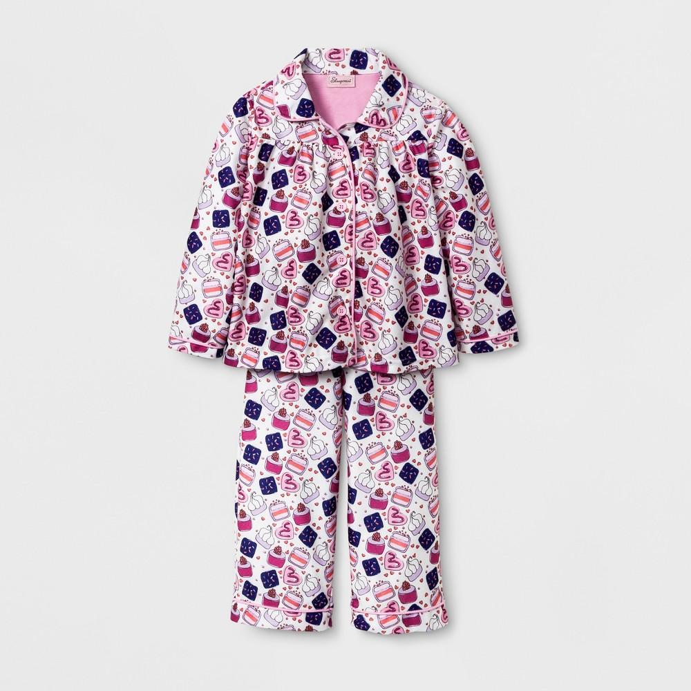 Sleepimini Toddler Girls Cupcake Coat Pajama Set - Ivory 3T, White